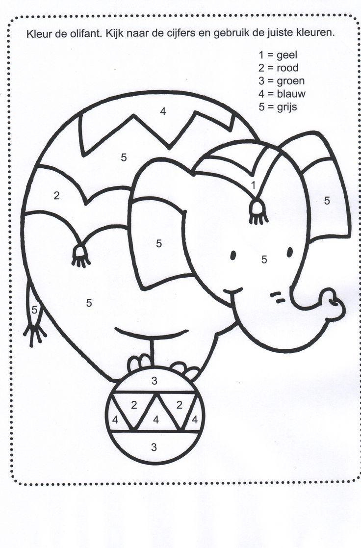 Colour worksheets ks1 - Colour By Number Circus Elephant