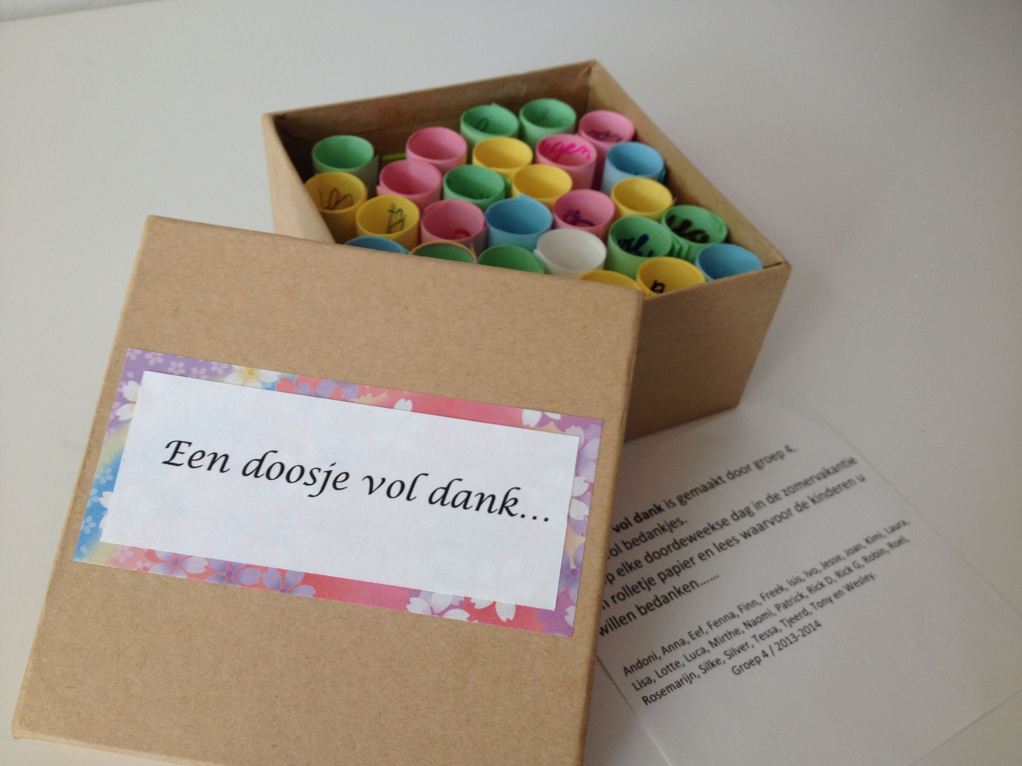Een 39 doosje vol dank 39 als bedankje voor juf alle kinderen for Een doosje vol geluk waar te koop