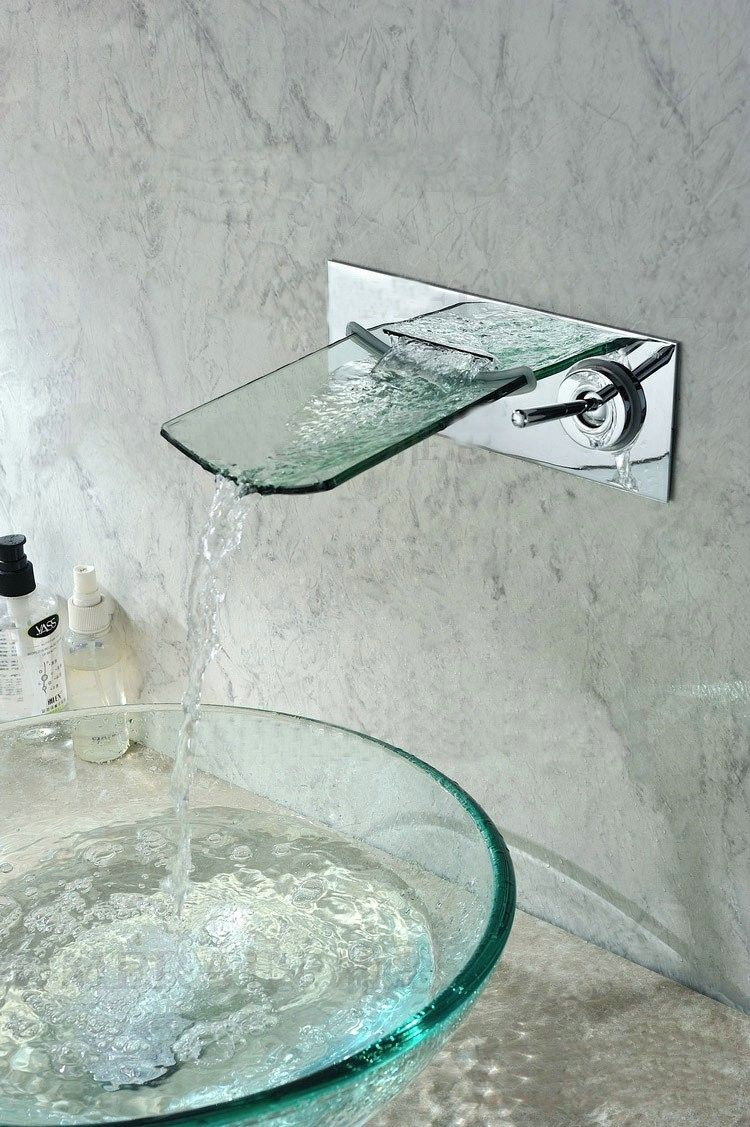 Bathroom. 16 Glass Sink Ideas For Bathroom. Glass Bowl Sink With Glass Waterfall  Faucet Design.