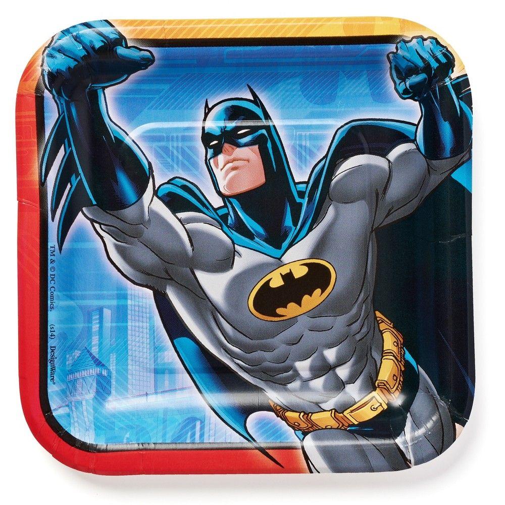 """Batman Cape Crusader DC Comics Multicolor Character Party Kid Plates Set of 4 8/"""""""