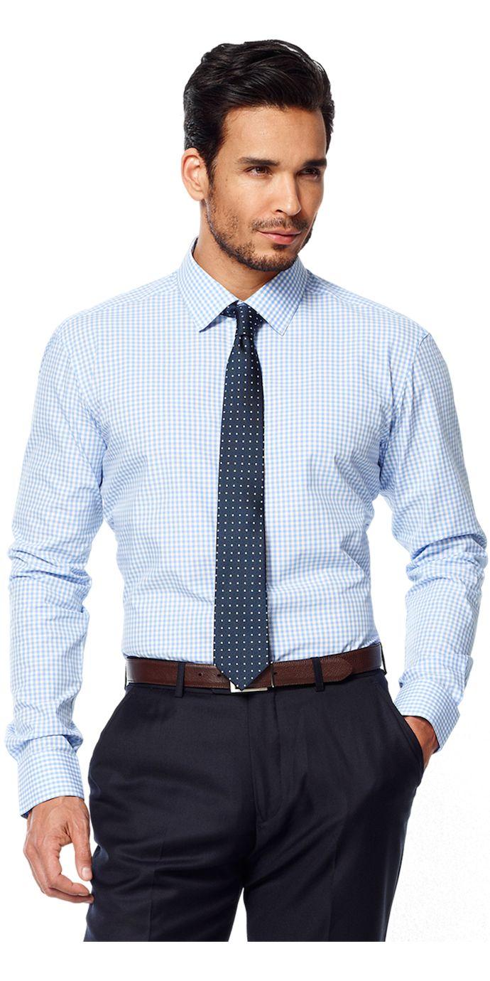 Light Blue Gingham Broadcloth Custom Dress Shirt | Blue gingham ...
