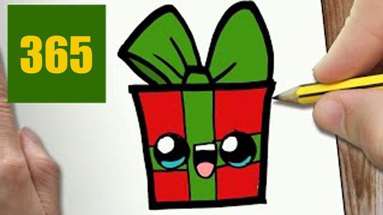 Comment Dessiner Cadeau De Noël Kawaii étape Par étape