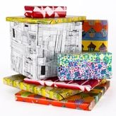 Original art wrapping paper.  Make your gift even more special with these colorful and creative designs and help out some wonderful artists with developmental disabilities.  from Creativity Explored with studio and gallery in San Francisco.