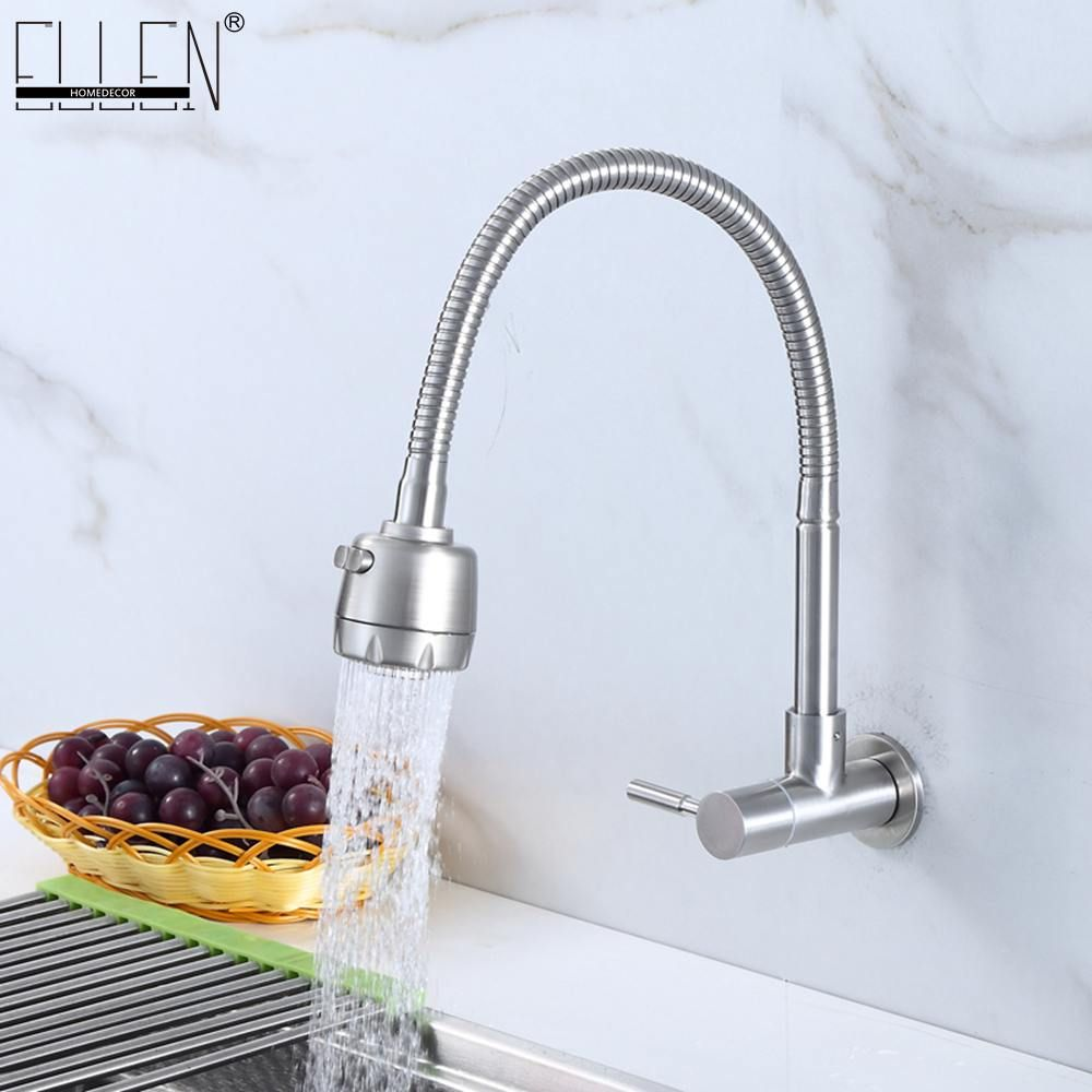 Wall Mounted Single Cold Kitchen Faucet Kitchen Sink Tap Stainless Steel Crane Bidet Faucets Bidet Kitchen Sink Taps