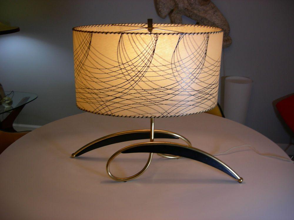 Fabulous Rare 1950s Majestic Lamp Fiberglass Shade Lamps