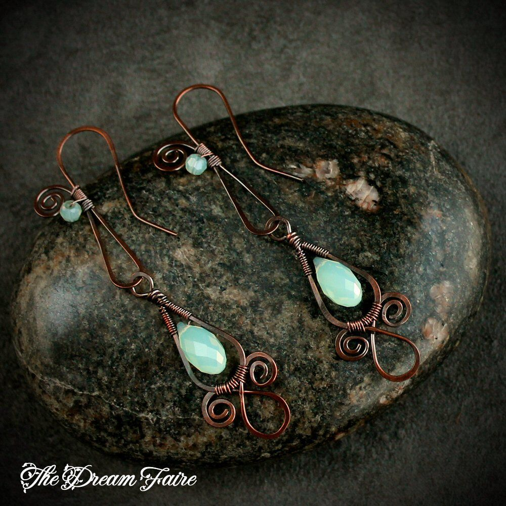 Crystal copper dangle earrings these delicate and dainty earrings