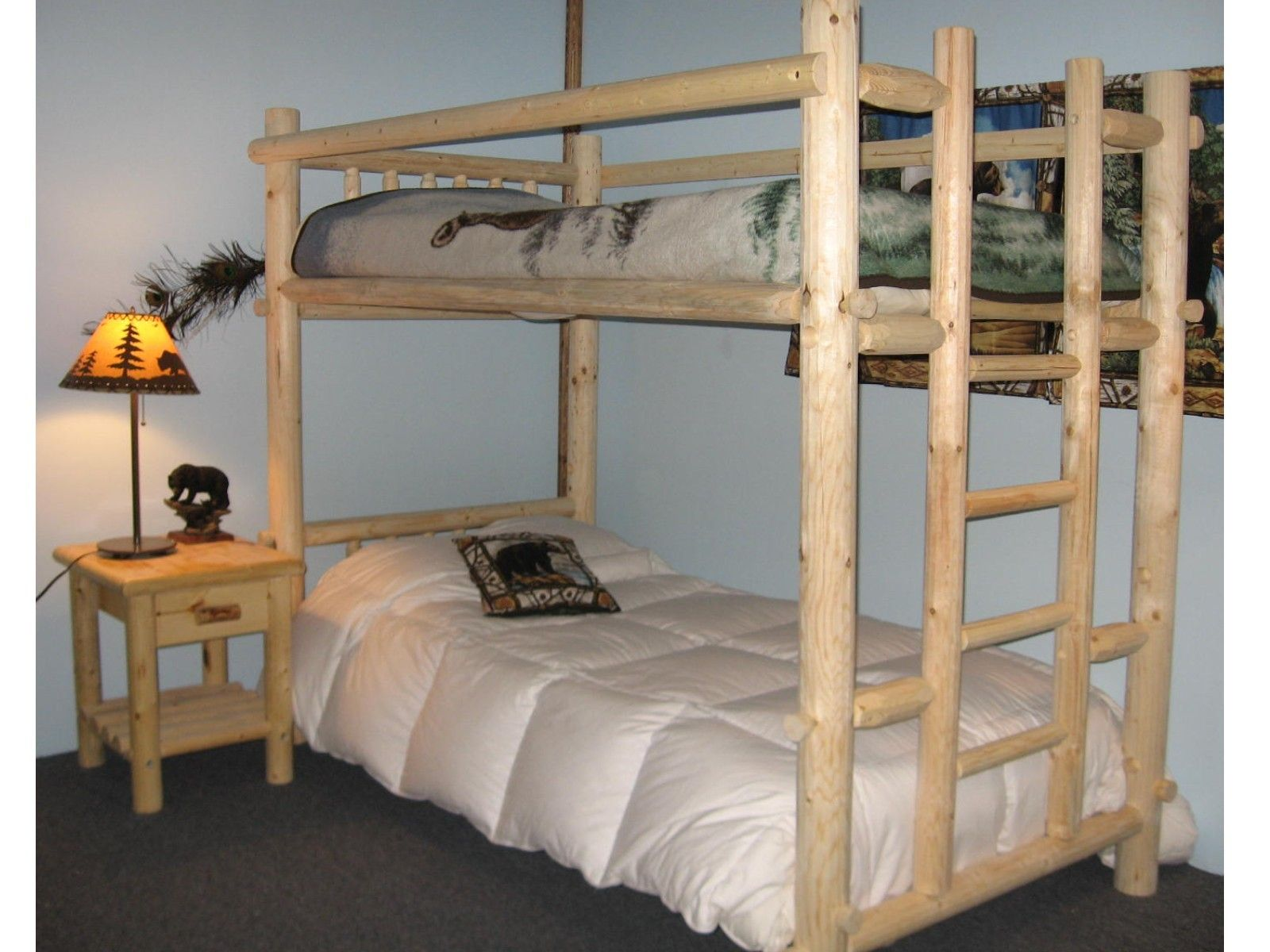 Rustic Unpolished Log Wood Bunk Bed Built In Ladder Combined With