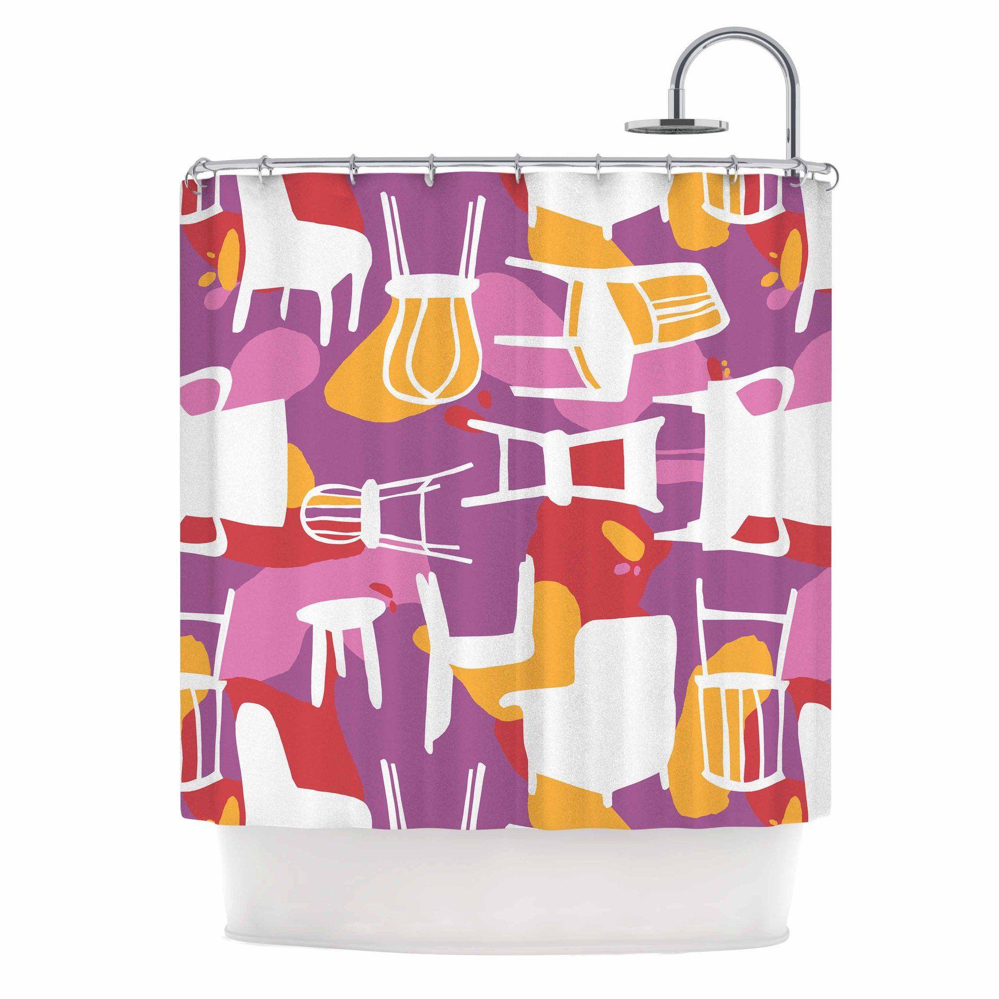Karina Edde Chairs Purple Red Shower Curtain