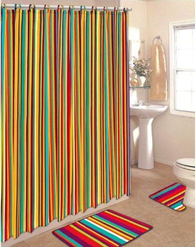 Colorful Striped Shower Curtains