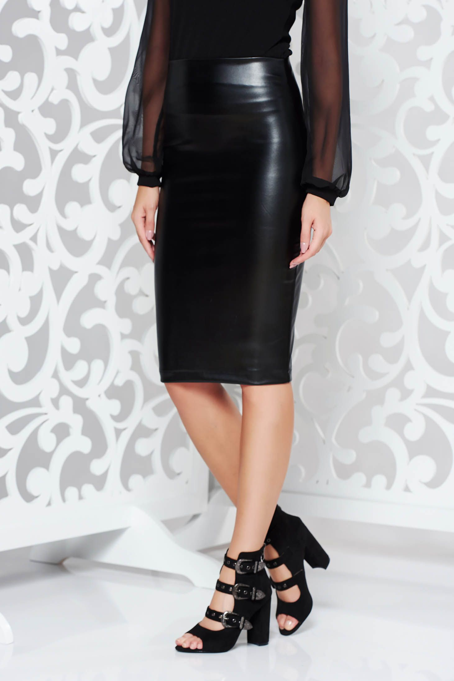 ad5d404fa7 StarShinerS black pencil skirt from ecological leather