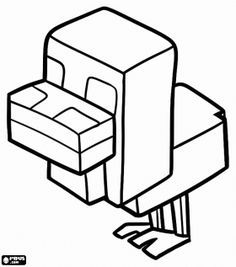 Free Minecraft Chicken Coloring And Printable Page