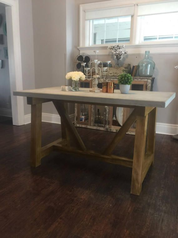 WRH Noribelle Table Concrete Top by WeatheredRootsHome on Etsy