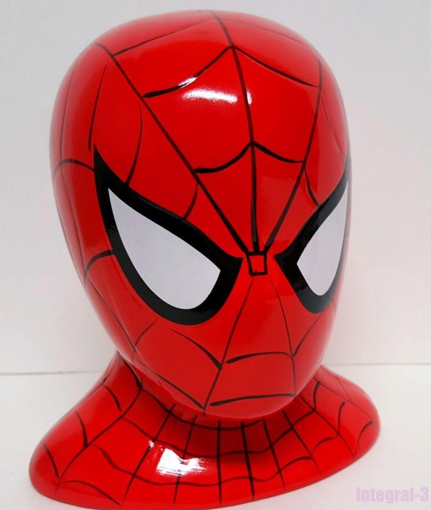 Marvel Super Hero Ceramic Spiderman Head Coin Money Bank #Marvel