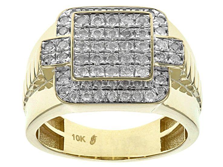 Diamond 10k Yellow Gold Mens Ring 1 00ctw Ddg094 Yellow Gold Mens Rings Gents Ring Rings For Men