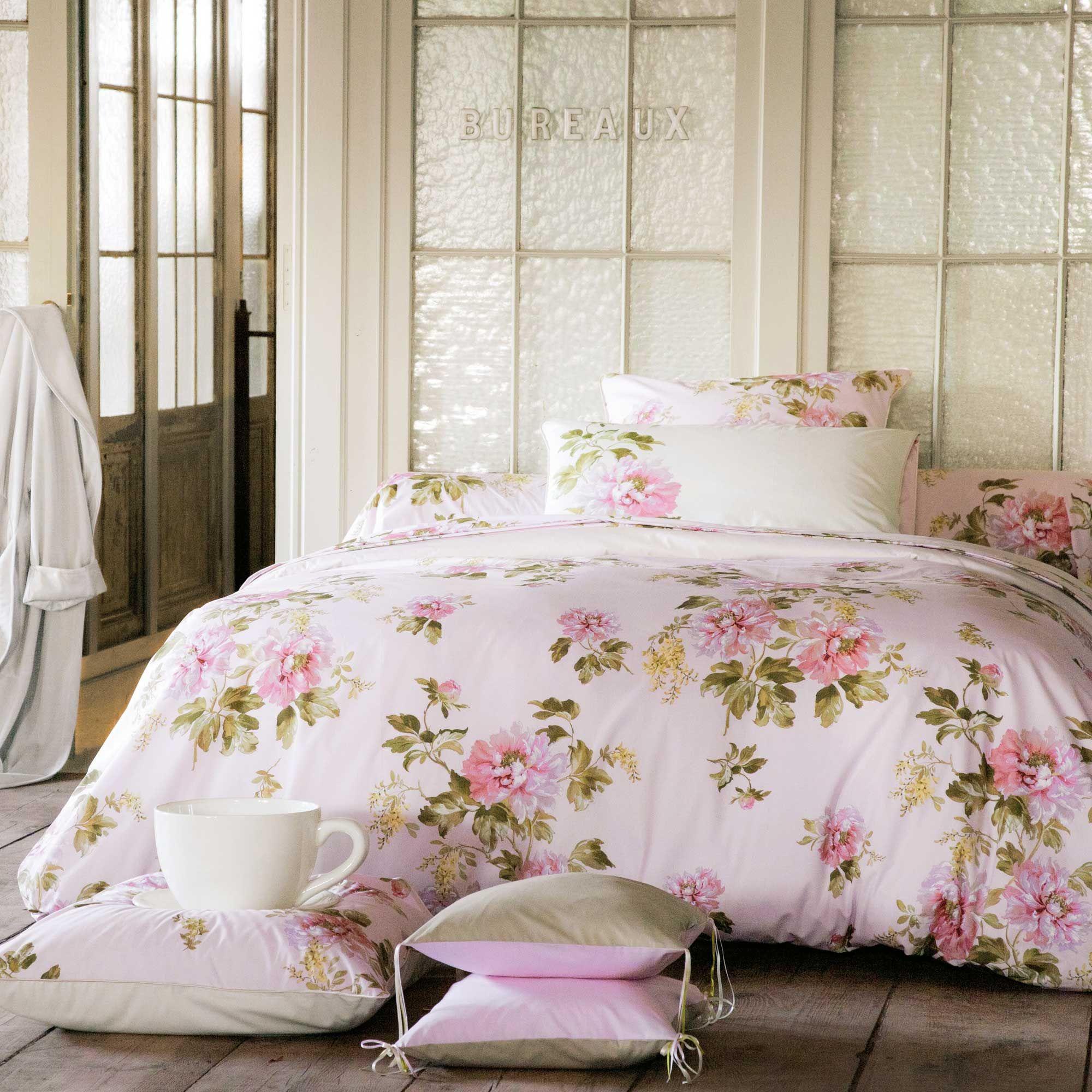 Anne De Solene Pivoine housse de couette 100% percale de coton rose motifs pivoines