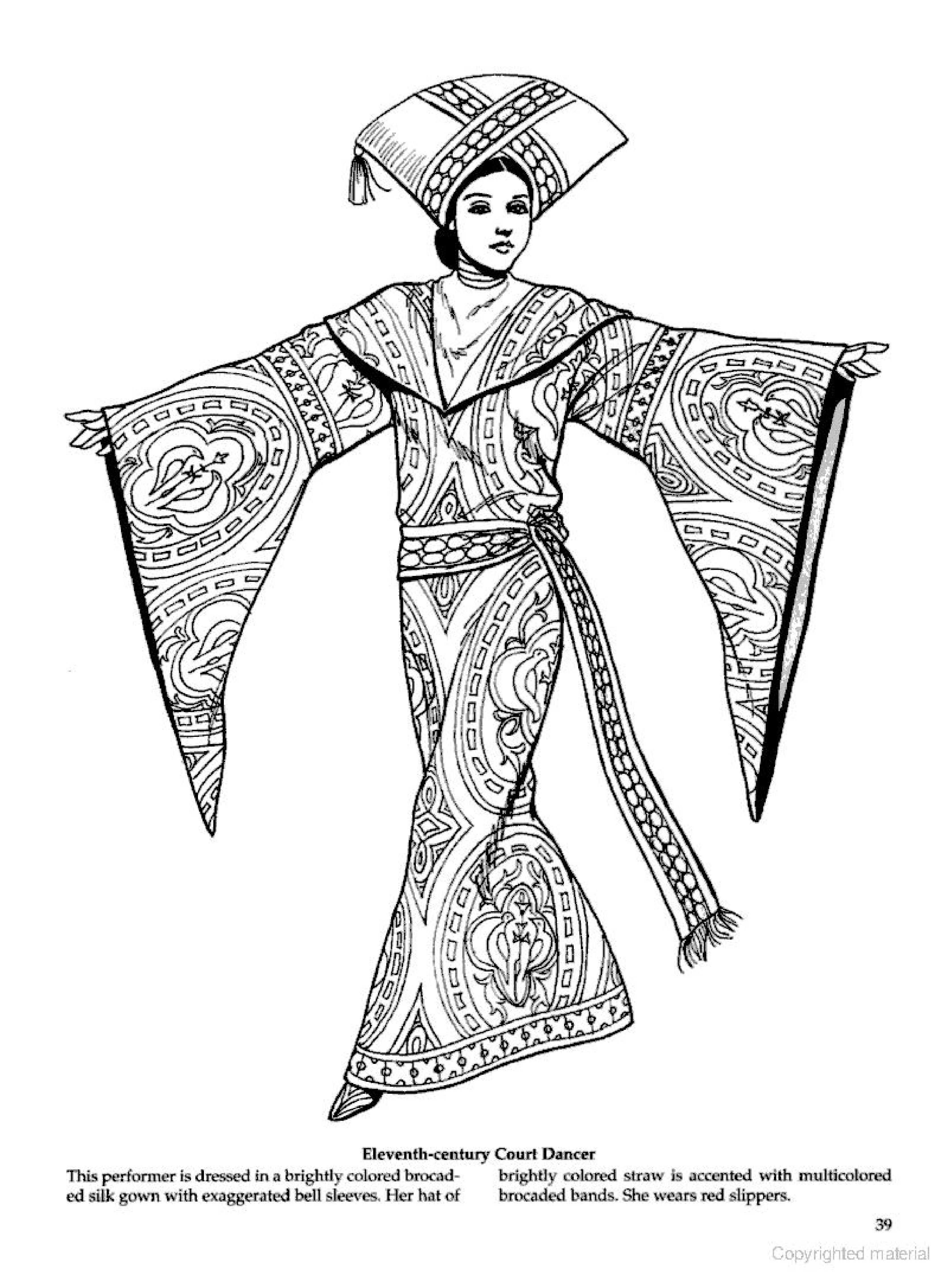 11 Th Century Court Dancer Byzantine Fashions Coloring Page Fabric Art Fashion Coloring Pages Historical Fashion
