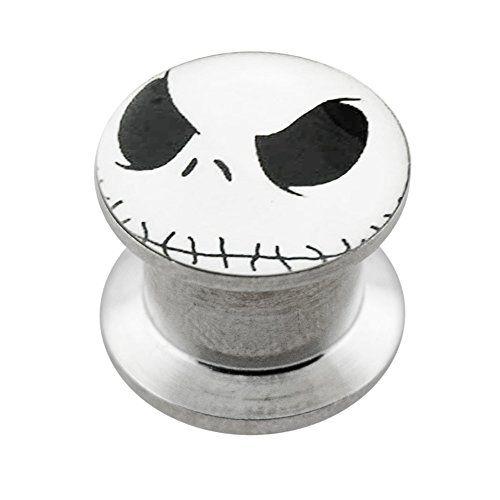 AtoZ Piercing Yin Yang Logo on 316L Surgical Steel Internally Threaded Screw Fit Double Flared Ear Plugs