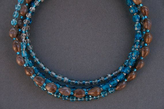 long glass bead necklace with natural seeds  bohemian by rokdarbi