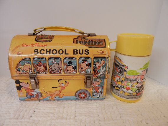 Vintage 1960's WALT DISNEY School Bus Metal LUNCH Box with Thermos by Aladdin Industries | shopswell