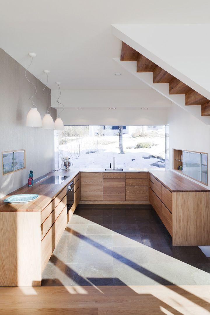 cocina abierta, sin muebles altos, acabado para muebles bajos y ...