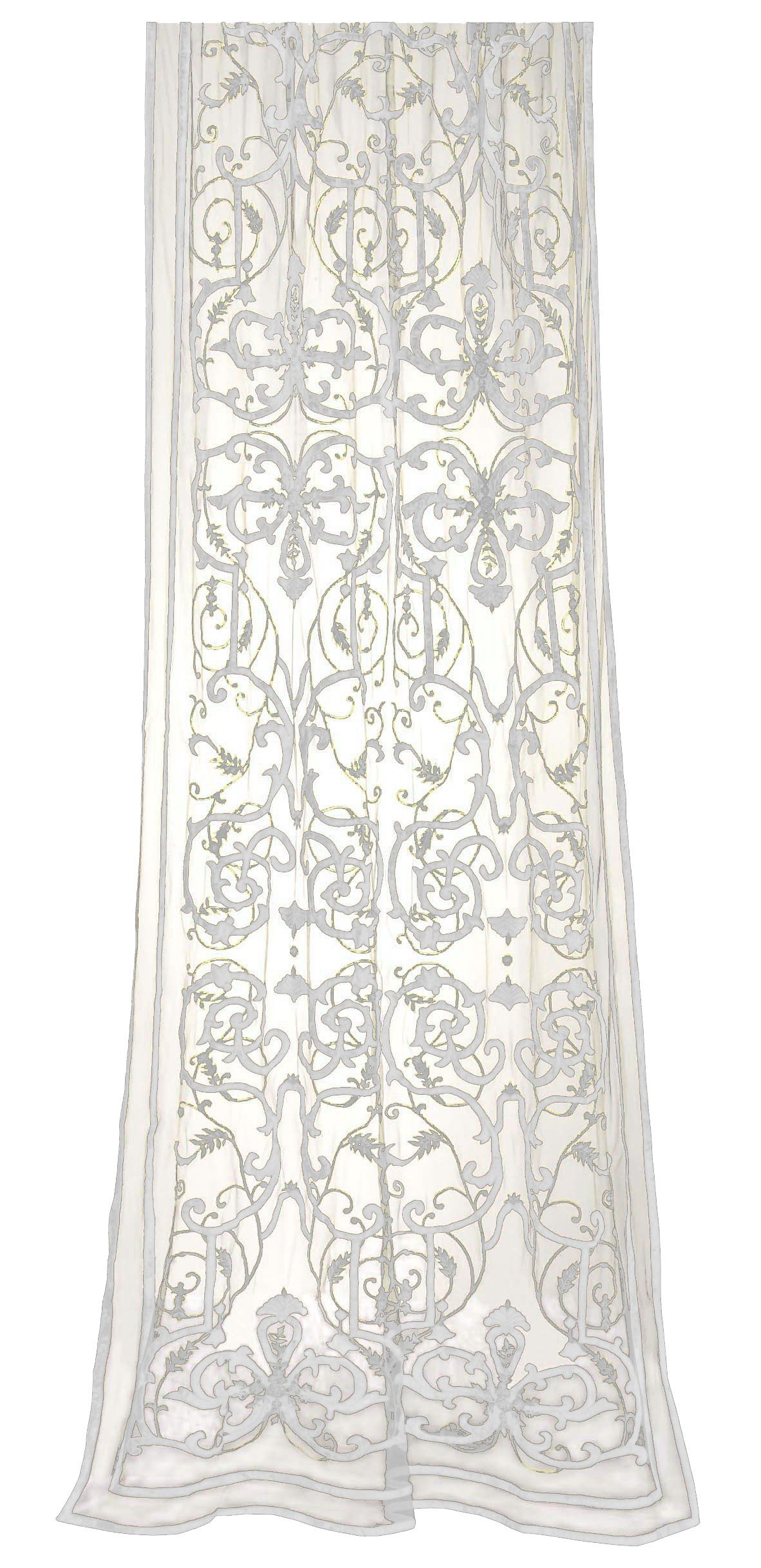 The Frances sheer panel. Latte net base with off white cotton sateen appliqué and embroidery. W140xL300cm. Contact sales@englishhome.com or +44(0)20 7738 0541 for custom colour options and trade information.