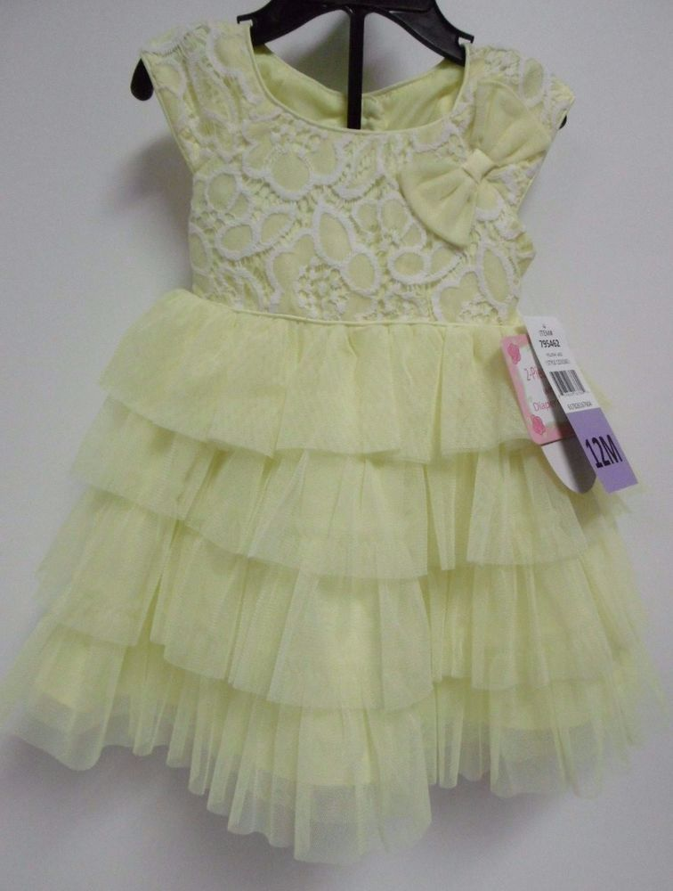 JONA MICHELLE GIRLS YELLOW WHITE SPRING SUMMER DRESS 12 MO