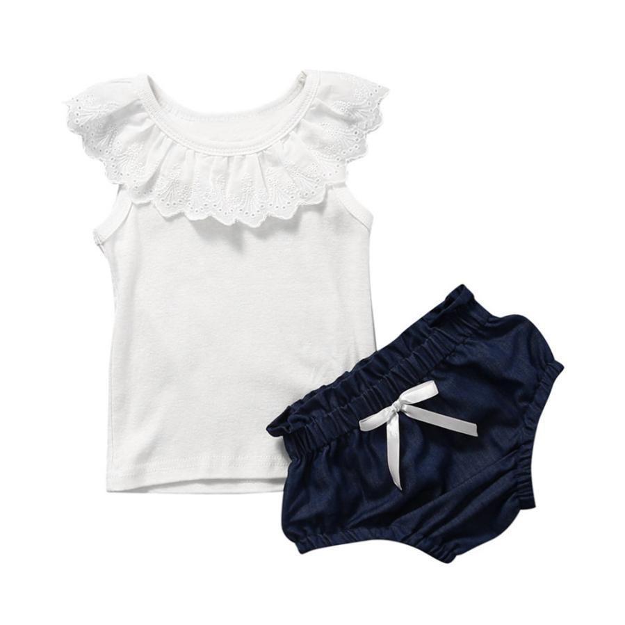 Bébé Enfants Fille T-shirt Débardeur Tops Short Pantalons 2PCS tenue d/'été Vêtements