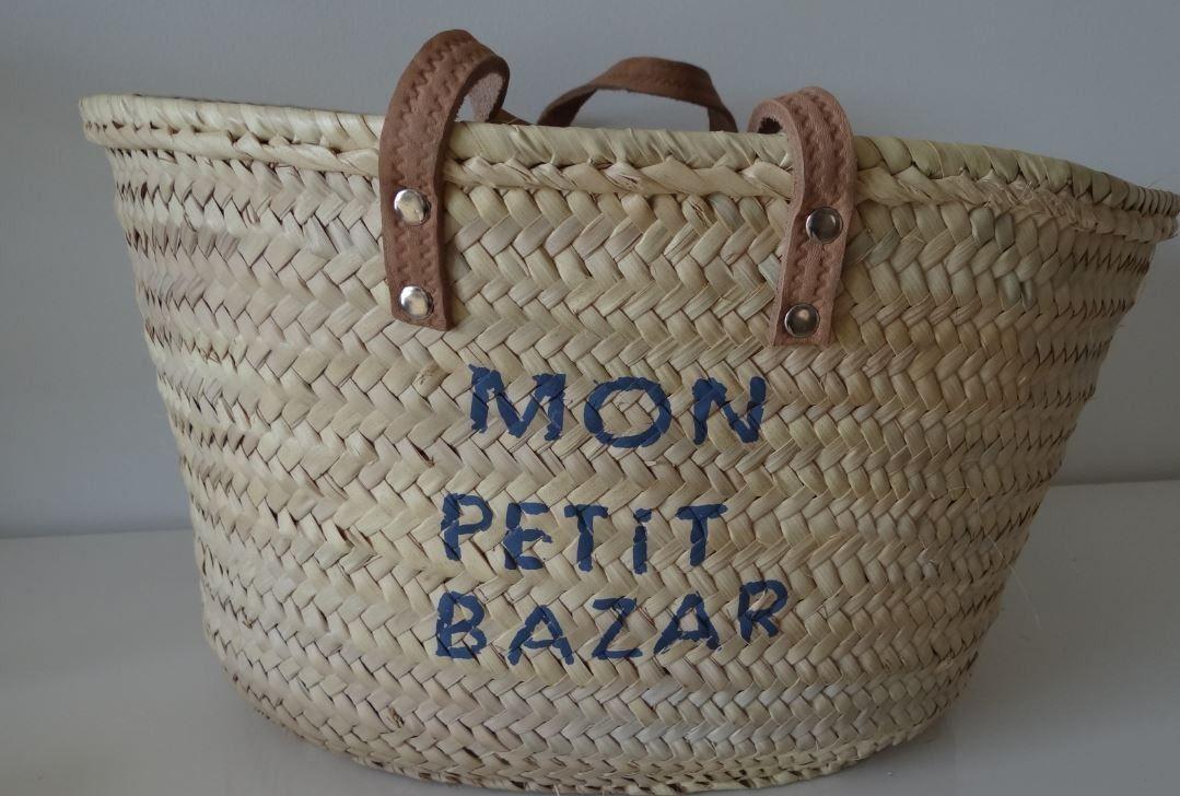 panier de plage en paille customis tendance autres sacs par une etoile dans ma bulle j 39 aime. Black Bedroom Furniture Sets. Home Design Ideas