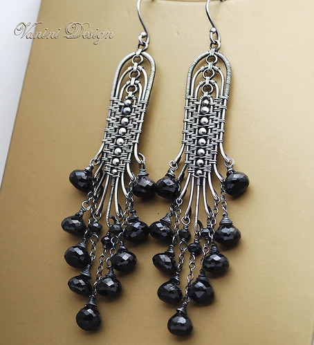 Photo of Black Bells – Fine/sterling silver and black spinel chandelier earrings