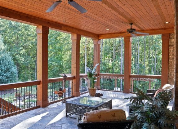 Covered deck ideas possibility for top deck we do want for Covered porch flooring options