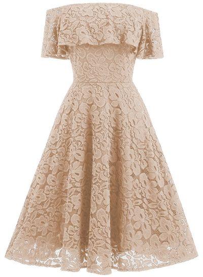 Women's Elegant off Shoulder Short Sleeve Lace A-line Party Dress NOVASHE.com