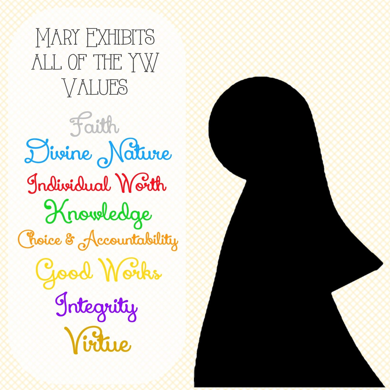 Young Women Christmas Activity How Mary Exhibits All Of The Values