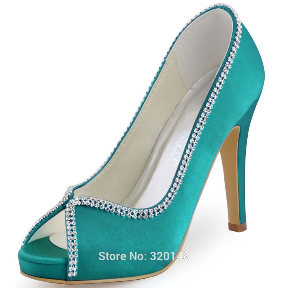 Women high heel Burgundy blue peep toe rhinestones pumps Satin bride ...