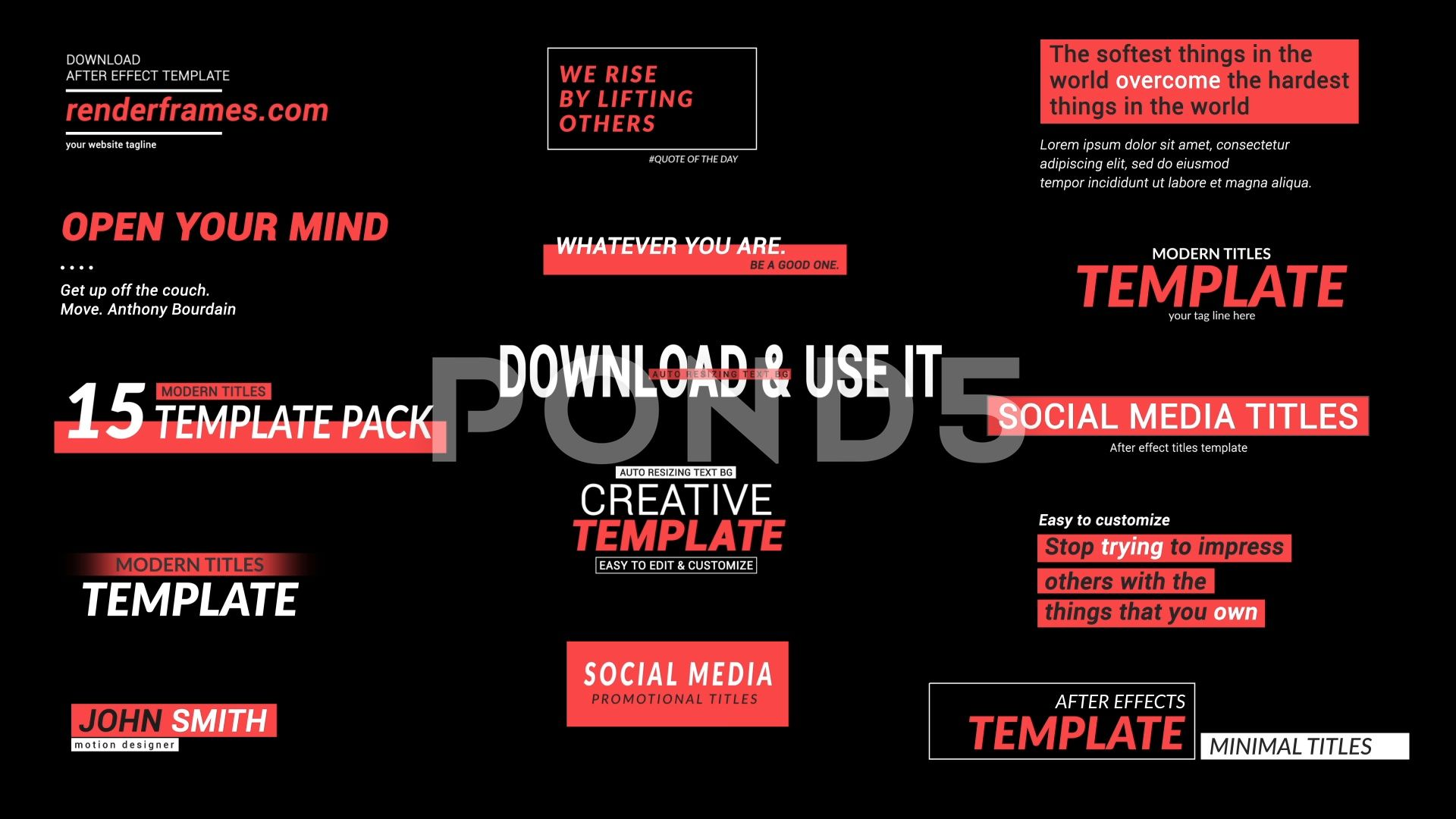 Social Media Titles 2 0 Stock After Effects Ad Titles Media Social Effects Social Media Templates Mockup Design Social media after effects template