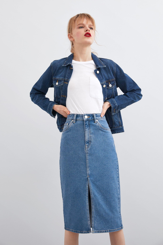 Jupe en jean mi longue | Jupes en jeans longues, Jupe en