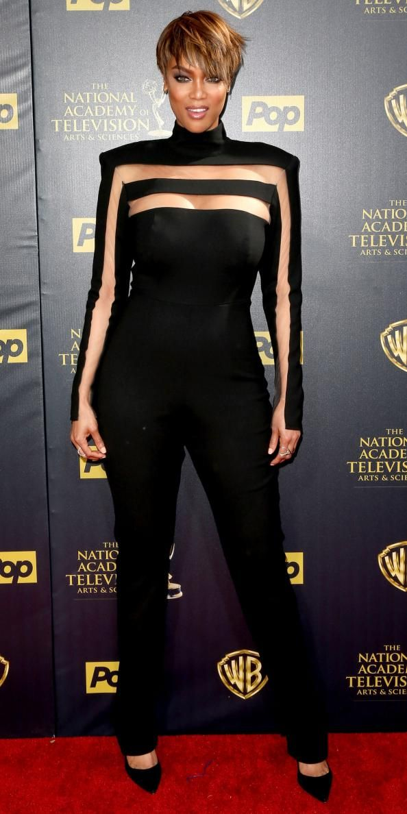 Tyra Banks wears multiple stylish looks to host the Daytime Emmy Awards.