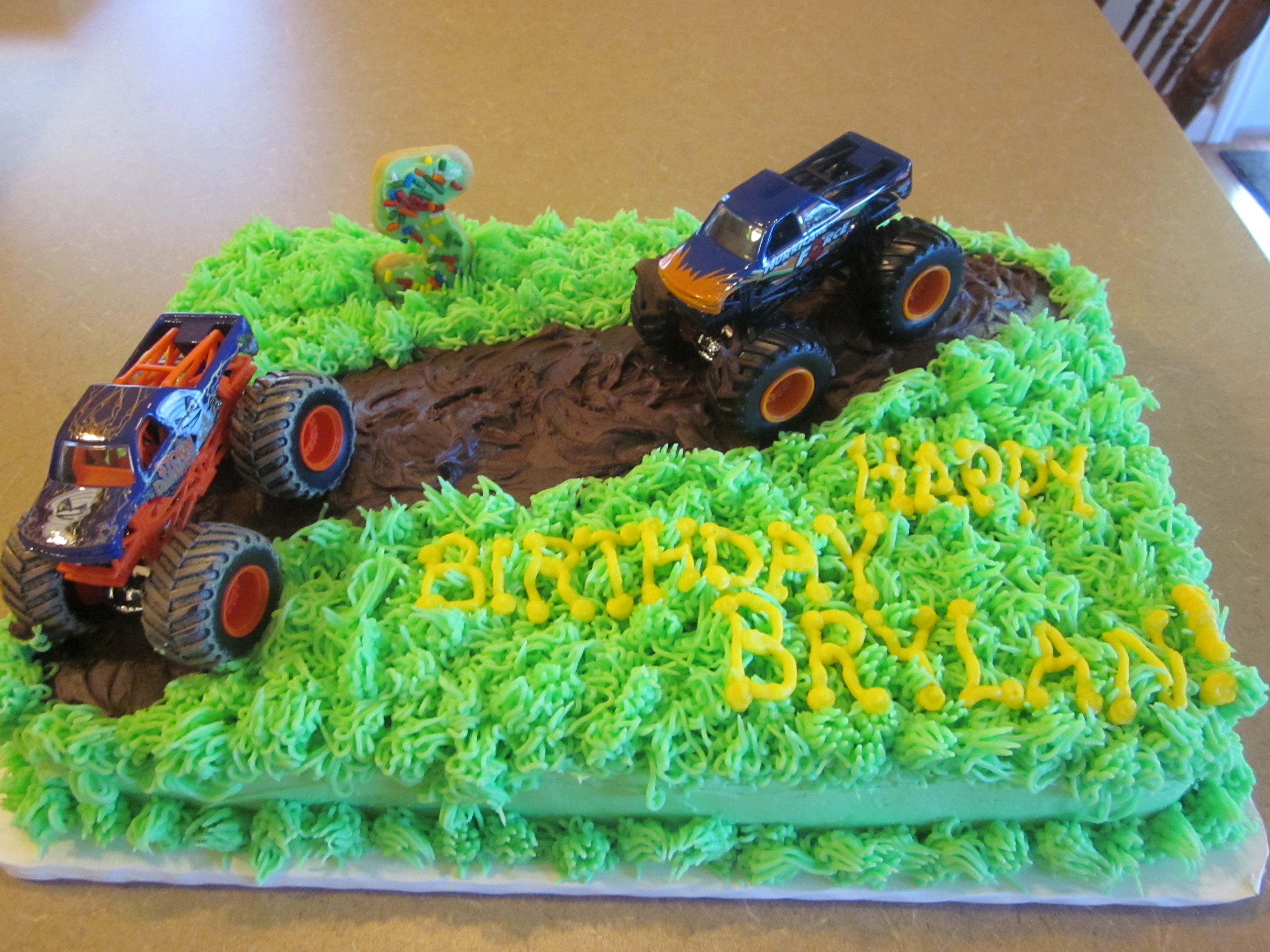 Fantastic Mudding Cake With Monster Trucks For 5 Year Old Birthday Monster Funny Birthday Cards Online Aboleapandamsfinfo