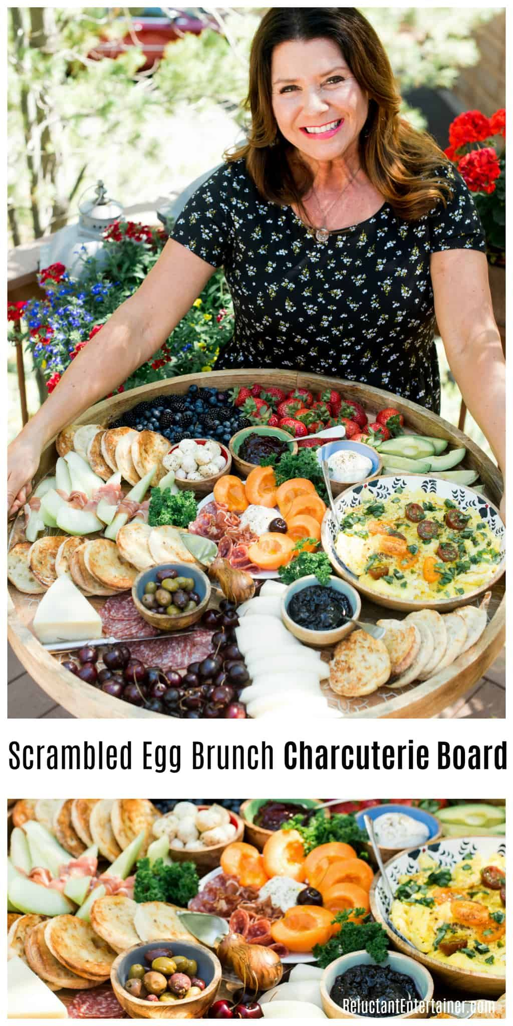 Scrambled Egg Brunch Charcuterie Board with fresh fruit, cheese, salami, scrambled eggs, and English muffins #breakfast #charcuterie #breakfastcharcuterie #brunch #brunchcharcuterie via @sandycoughlin #charcuterieboard