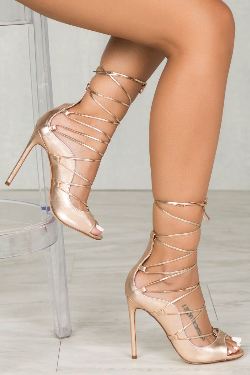 Queen Lace Up (Metallic Rose Gold) #promheelsgold | Shoes