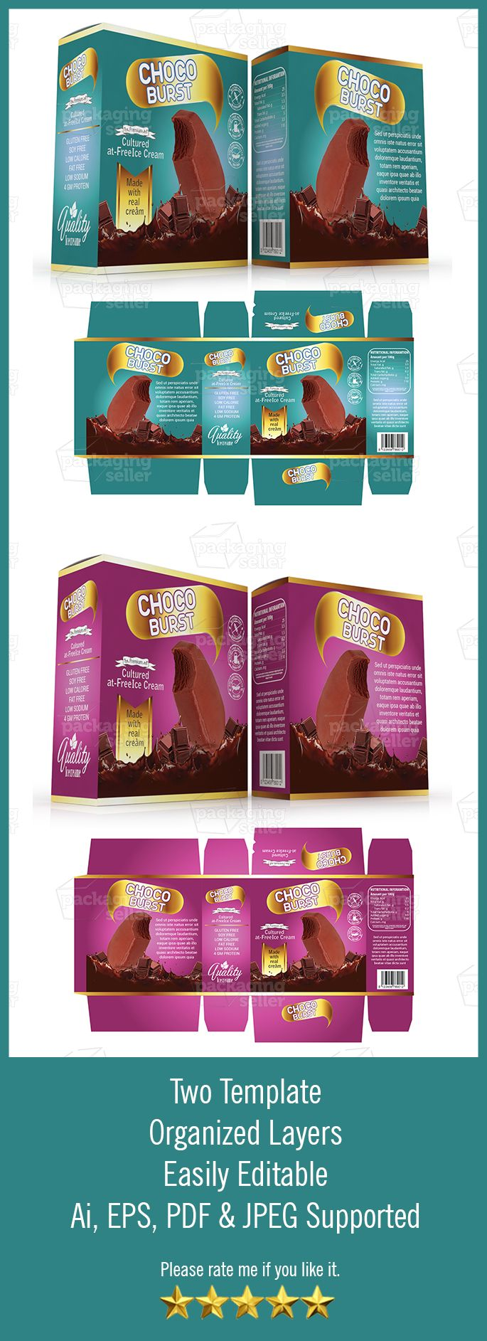 Ice Cream Packaging Template Vol 72 Packaging Seller Ice Cream Packaging Packaging Template Tea Box Design