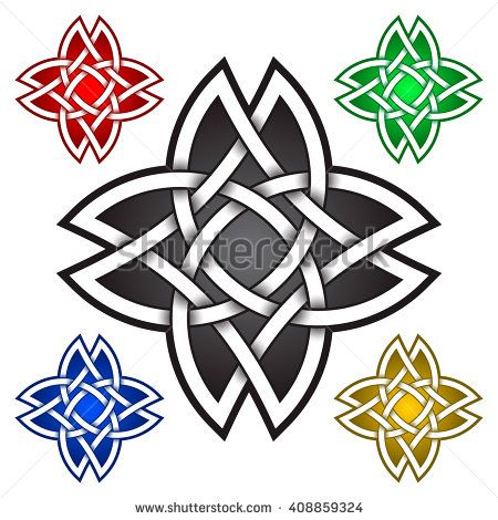 Eight Pointed Star Logo Symbol In Celtic Style Tribal Tattoo
