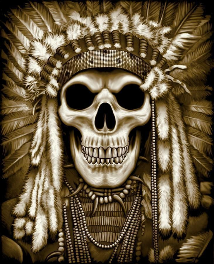 9c2128198f083f $6.95 - Indian Skeleton Skull With War Bonnet Black Tee Shirt Size Xxlarge  Adult Tjb18 #ebay #Fashion