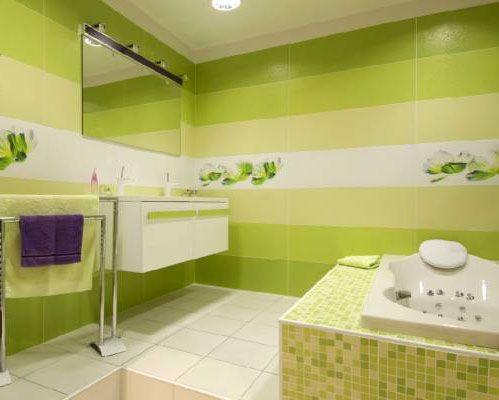 Зеленая ванная ванная комната в салатовом и зеленом цвете
