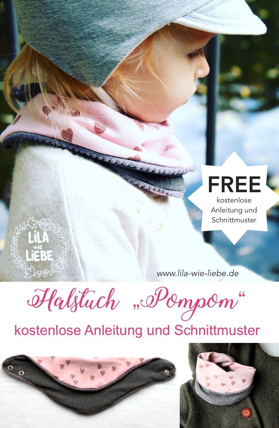 Halstuch POMPOM - für Kinder - kostenlose Anleitung und Schnittmuster #ponchos