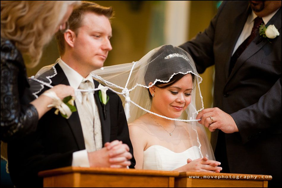 Filipino Catholic Wedding Ceremony Pinning Of The Veil And Placing Cord