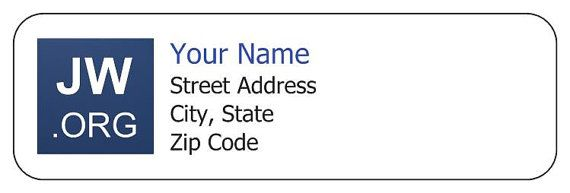 Custom JwOrg Return Address Labels Letter Writing Ministry