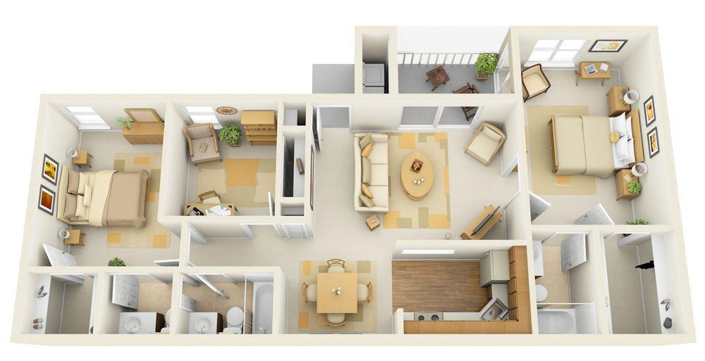 3b 3d Floor Plan Apartment Plans House Floor Plans Small House Plans