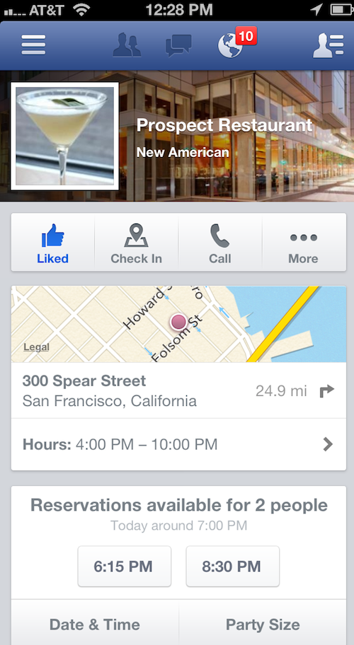 Facebook for iOS and Android now lets you book restaurant