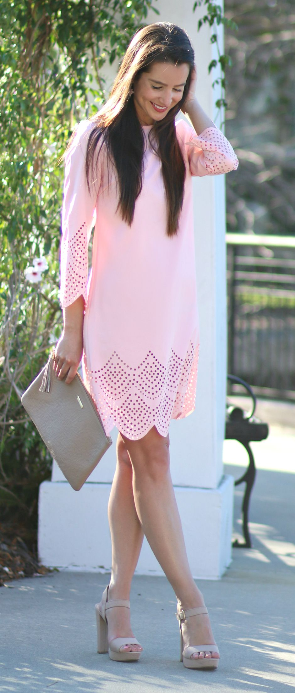 Pastel Pink Scalloped Shift Dress With Hollow Hem Cer Drop Earrings Heels And A Gigi New York Uber Clutch Simple Spring Wedding Guest