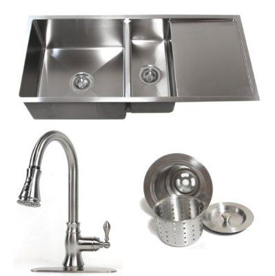 42 Inch Stainless Steel 15 Mm Undermount Double Bowl Kitchen Sink With Drain Board Builders Combo 1 Single Double Bowl Kitchen Sink Kitchen Single Bowl Sink